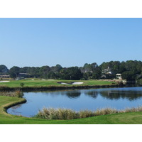 The par-3 12th hole on Palmetto Dunes Resort's Oceanfront Course features a long carry over water to an elevated green.