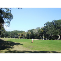 The fairway is tight on the straight par-4 16th hole on Palmetto Dunes Resort's Oceanfront Course.