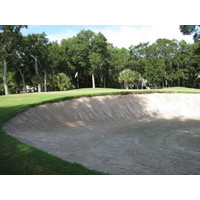 Most of the greenside bunkers on the George Fazio course at Palmetto Dunes Resort are deep and intimidating.