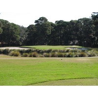 The approach to the first hole on the Barony Course at Port Royal Golf Club is either over water or around a thin path on the right.