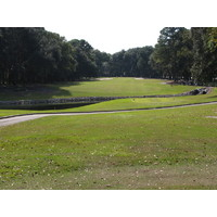 The fourth hole on the Barony Course at Port Royal Golf Club includes a drive over water to an uphill approach to a well-guarded green.