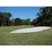The fifth hole on Barony Course at Port Royal Golf Club includes a mid-fairway bunker on the right.