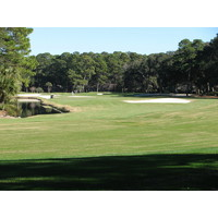 The par-5 fifth hole at Harbour Town Golf Links has moat-like bunkers that wrap around grassy knolls.