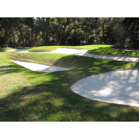 The bunkers around the 11th hole at Harbour Town make any errant approach shot treacherous.