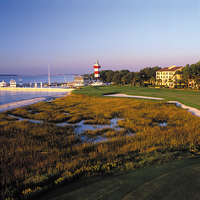 Sea Pines Resort's Harbour Town Golf Links famous 18th hole plays along the coast and towards the lighthouse.