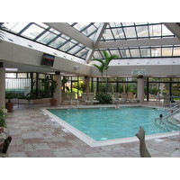The Hilton Head Marriott Resort and Spa offers a large indoor pool with a tropical feel and dive-in movies.