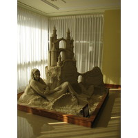 Each year, an artist recreates a sand sculpture in the lobby of the Hilton Head Marriott Resort and Spa.