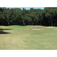 The approach on the par-5 second hole at Robber's Row at Port Royal Golf Club brings bunkers into the fairway.