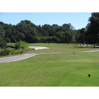 The par-3 fourth hole at Robber's Row at Port Royal Golf Club puts most of the trouble on the left with sand and water.