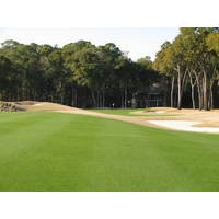 The 14th fairway halts right before a drop down to a bunker on the Nicklaus course at Colleton River Plantation Club.