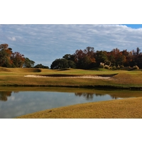 Water catches misses to the right of the 11th green at Old South Golf Links in Bluffton, S.C.