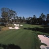 A view from fairway with bunkers on sides at Crescent Pointe Golf Club