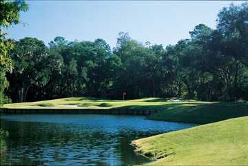 A view of a green with water and bunkers coming into play at Sea Pines Country Club