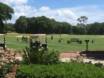 A view of the driving range at Colleton River Plantation Club